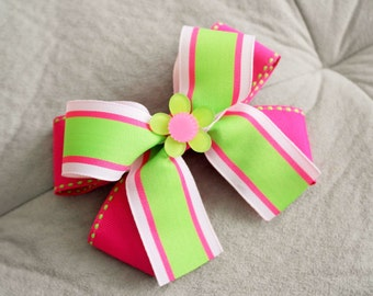 Pink and Lime Flower Hair Bow Clip