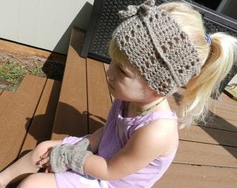 Brown Lace Headband, Wraparound Headband, Brown Lace Earwarmer, Brown Fall Headband, Brown Knit Headband, Crochet Headband