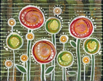 Abstract Floral Garden #2 mixed media layered collage 10x8