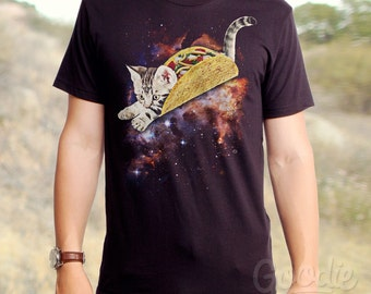 Taco Cat (GT5276-101BLK) Men's T-shirt. Taco, cats, cat lover, foodie, taco lover, men's t-shirt, mens cat t-shirts, space, mexican food.