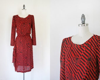 CLEARANCE Women's 80s Dress - Small to Medium // Black & Red Striped Women's Dress // Vintage 80s Dress for Women