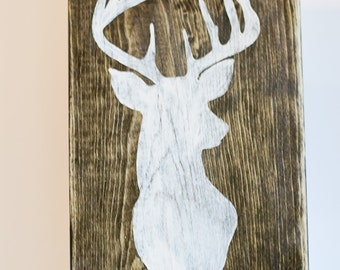 Deer Head Silhouette Hand Painted Wood Sign