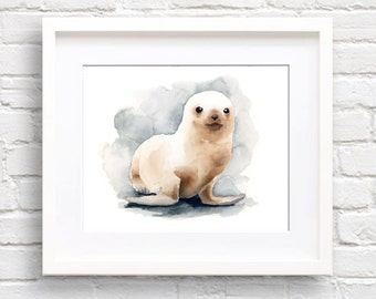 Seal Pup Art Print - Watercolor Painting - Signed by Artist DJ Rogers - Wildlife - Wall Decor