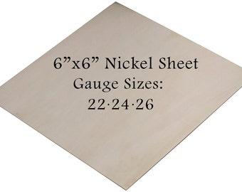"""Nickel Silver Sheet 6"""" x 6"""" 22-24-26 Gauge Metal Etching Punching Hammering Cutting Stamping Blanks Pendants Charms Jewelry Making"""