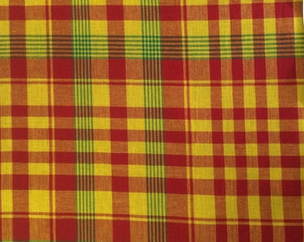 100% Cotton Madras Plaid Fabric By the Yard Orange Green White (Style 310)