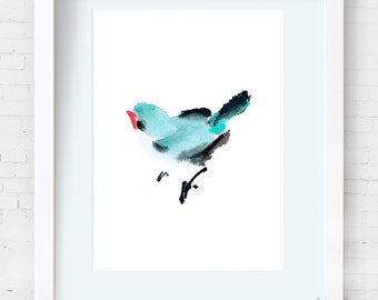 Watercolor Bird Magpie Chinese Painting/Ink Painting–Abstract animal Painting,Watercolor art,Archival Print,Wall Decor Home Decor Housewares