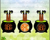 Halloween Design Witch Legs in Cauldron Monogram Base Digital Clipart and Cut File Jpeg Png SVG EPS DXF Instant Download