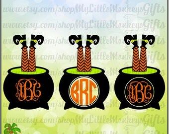 Witch Legs in Cauldron Monogram Base Halloween Design Digital Clipart and Cut File Jpeg Png SVG EPS DXF Instant Download