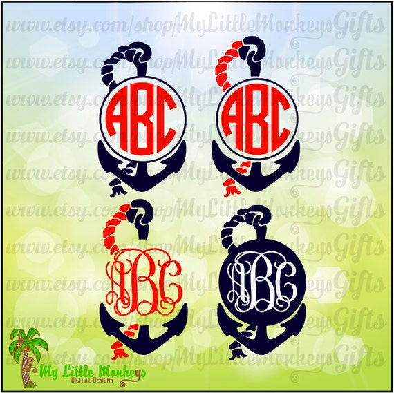 Monogram Anchor With Rope Frame Monogram Base Designs Digital