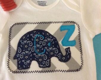 Baby boy elephant appliqué onesie