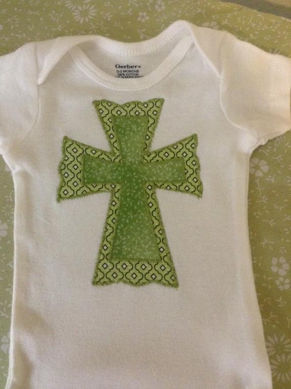 Baby boy cross appliqué onesie bodysuit