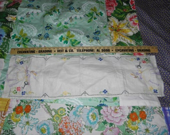 vintage hand stitched table runner. 1950's