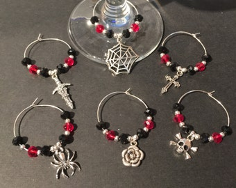 Set of 6 Gothic themed wine glass charms