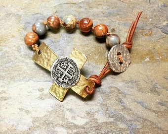 Gold & silver cross bracelet with knotted snakeskin agate stones