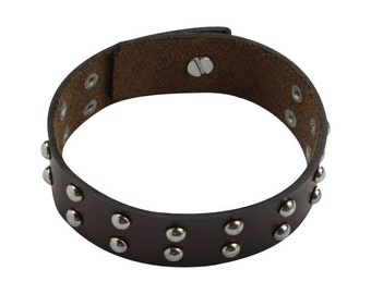 Leather Bracelet With Stud Closure, Brown Leather Studded Bracelet - Studded Brown Leather Wristband - Men's Women's Studded Leather Band