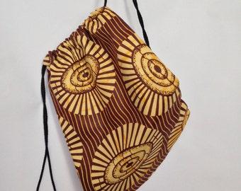 African Print Drawstring Bag