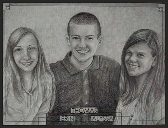 Custom pencil portrait drawing from photo. Drawn by an Award-Winning Artist! Free shipping.