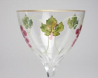 Antique enamelled and cut glass Art Nouveau wine glass circa 1900