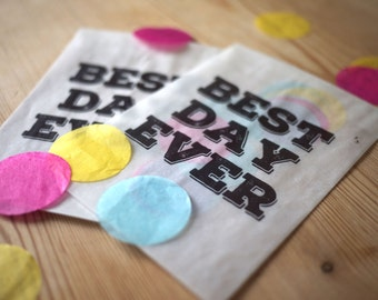 10 x 'Best day ever' confetti bags for wedding, party, favours