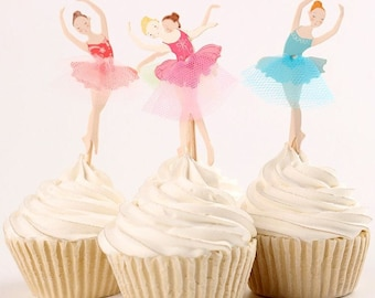 12 Set Ballet Cupcake Toppers, Cake, Toppers, Picks, Party Picks