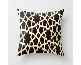 Morocco Throw Pillow Mediterranean Indoor Pillow Cover Brown Pillow Insert  Outdoor Pillow Insert Outdoor Pillow Cover