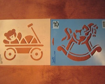"2 child stencils,6.5""x7.5"" bear in wagon, 6.5""x7.5"" bear on hobby horse"