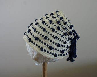 40's Vintage Crochet Winter Hat with Hole to Accomodate Ponytail White and Navy Blue Stripe