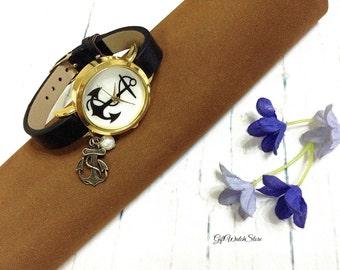 "Retro Leather Watch, Leather Wrap Watch, Leather Bracelet Watch, Wrist Watch, Leather Anchor Watch ""anchor"" charm"