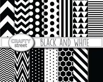 Black and white, Digital paper, INSTANT DOWNLOAD, Scrapbook paper, Scrapbooking, Digital paper pack, Commercial use, Black, Printable paper