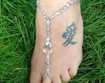 Wedding/Beach Barefoot Sandal/Foot Jewelry  Style: Purple Sky