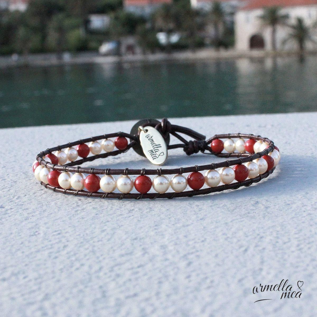 leather and pearl bracelet swarovski bracelet bead bracelet. Black Bedroom Furniture Sets. Home Design Ideas