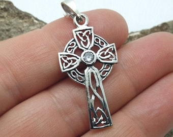 Celtic Cross Necklace - solid STERLING silver cross necklace - celtic revival cross - Irish cross necklace - insular cross - cubic zirconia