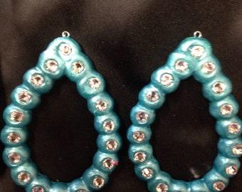 Polymer Clay Teardrop Cross earrings ings