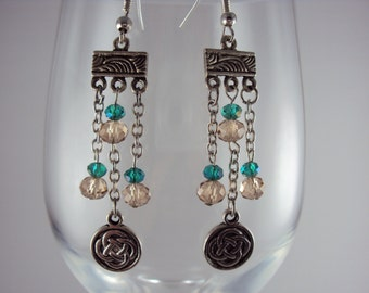 Champagne and Light Green Crystal Celtic Chandelier Earrings