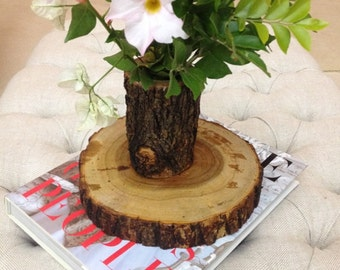 Tree Branch Vase, Log Flower Holder, for Rustic Weddings, Country Weddings, Rustic Center Piece, rustic vase