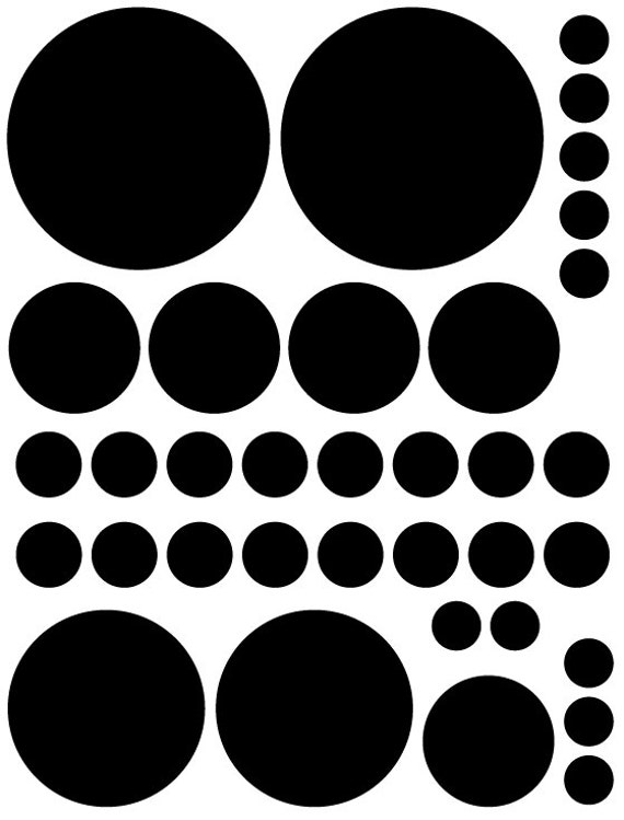 70 Black Vinyl Polka Dots Bedroom Wall Decals Stickers Teen Kids Baby Girl Nursery Dorm Room Removable Custom Made Easy to Install