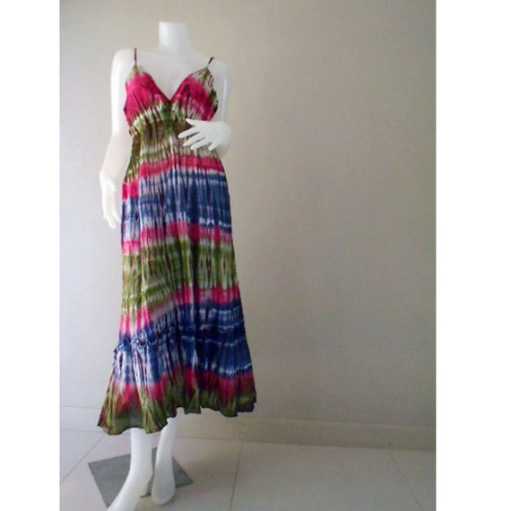 Beautiful Hippie Gypsy Colorful Tie Dye Cotton Maxi Dress,Halter Smock Summer Colorful Sundress Causal Dress S-L (DMSS115)