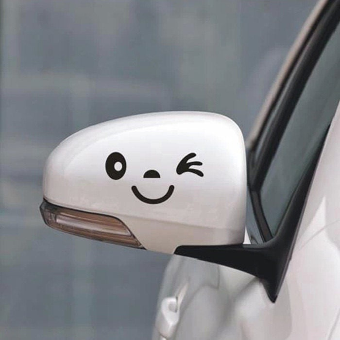 Funny Car Decal Smiley Face Car Mirror Sticker Funny Bumper - Funny car decal stickers