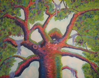 """Angel Oak Tree painting acrylic on canvas 24""""x30"""" ready to hang"""