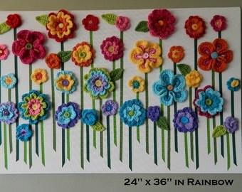 Handmade Flower Wall Hanging, Flower Wall Art, 3D Flower Wall Art, Baby Girl Nursery Wall Decor -Rainbow or Custom Colors
