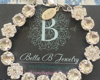 Bella B Clear Crystal Flower Bracelet