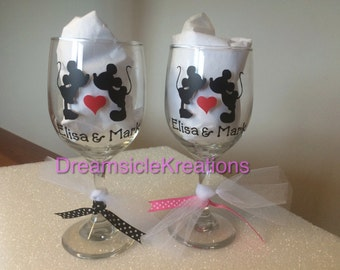Personalized Mickey Minnie Wedding Gift Wine Glasses Bride and Groom