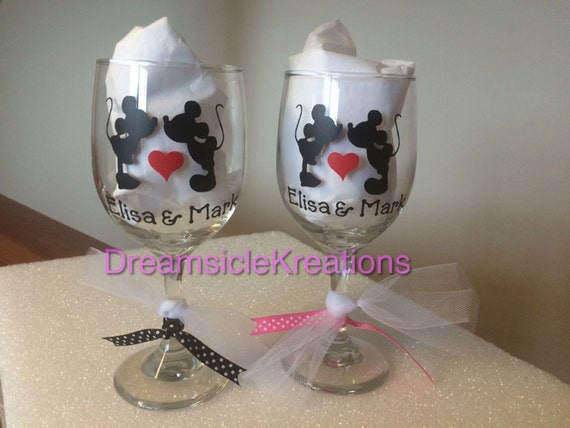 Personalized Disney Wedding Gifts: Personalized Mickey Minnie Wedding Gift Wine Glasses Bride And