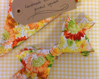 Handmade pre tied bow tie and pocket square with yellow sunflower print