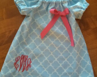 Monogrammed Peasant Dress for Baby/Toddler/Girl, Easter Dress, Spring Dress, Summer Dress, Back to School