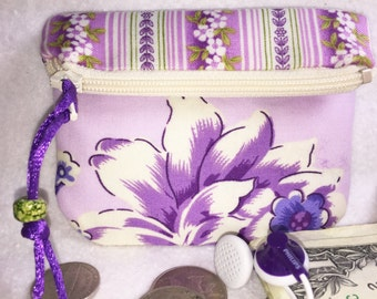 Lavender Floral Coin Purse, Secure Zipped Closure, Vintage Look, Small Wallet Magnetic Snap, Fold Over Change Purse, Small Zipper Pouch