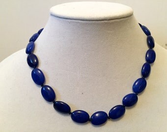 Royal Blue Jade Oval Beaded Necklace