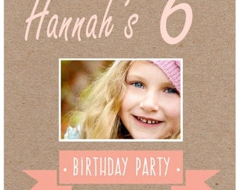Cute light pink and brown girl's birthday invitation {With photograph}