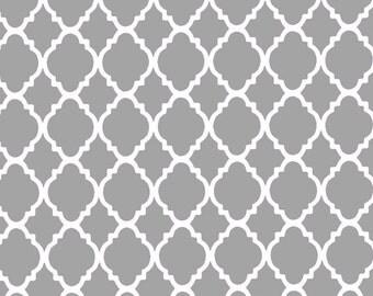 White Quatrefoil on Gray Background