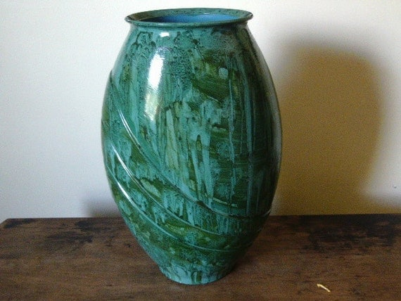 Large glass vase vinegar painted in teal/green/blue